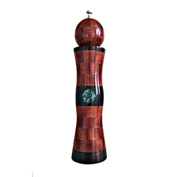 "10"" segmented pepper mill with bloodwood, African ebony and Paua abalone."