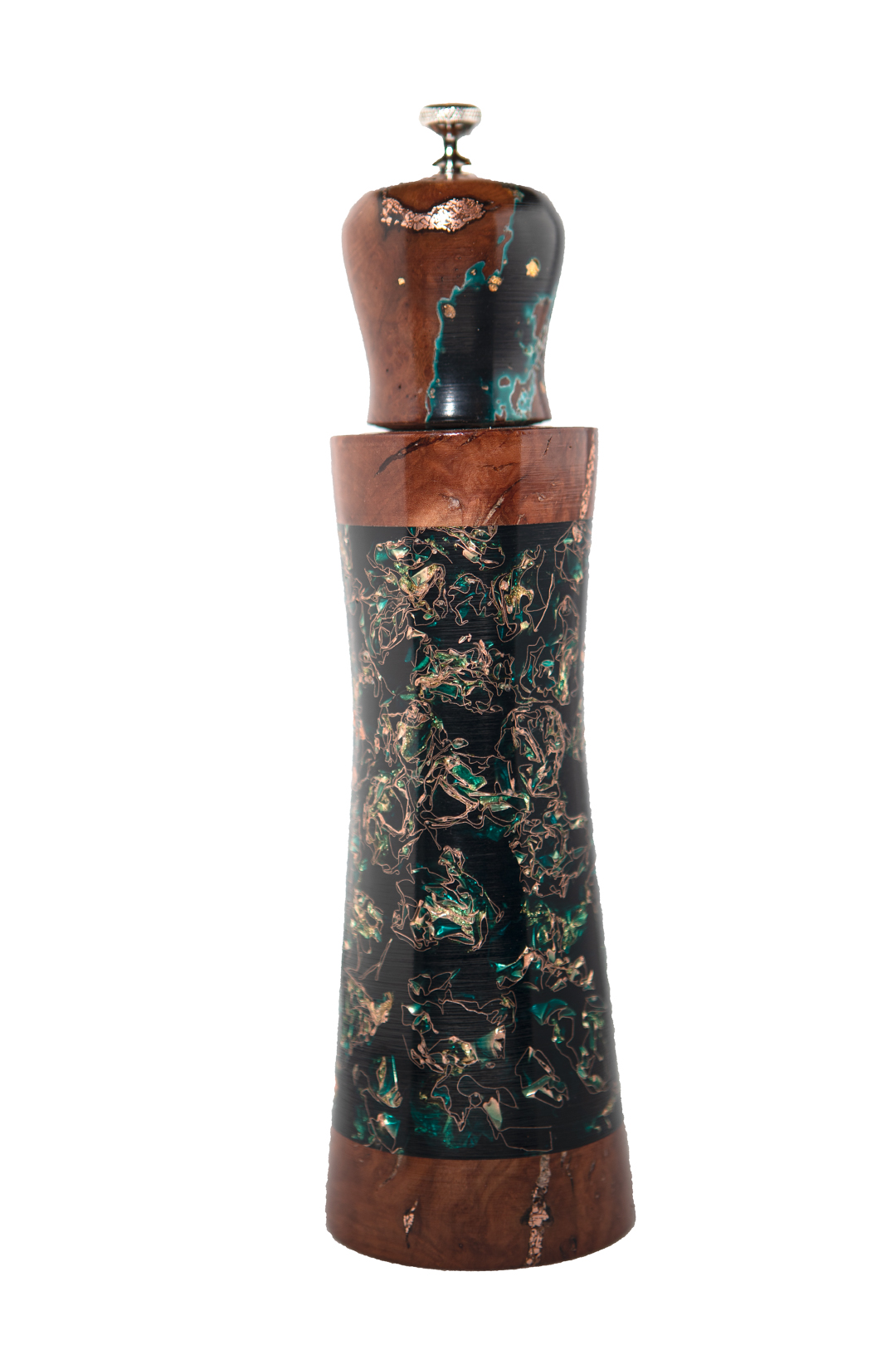 """9-1/4"""" Copper and gold leaf embedded in dyed casting resin, manzanita root burl top and trim, copper inlay"""