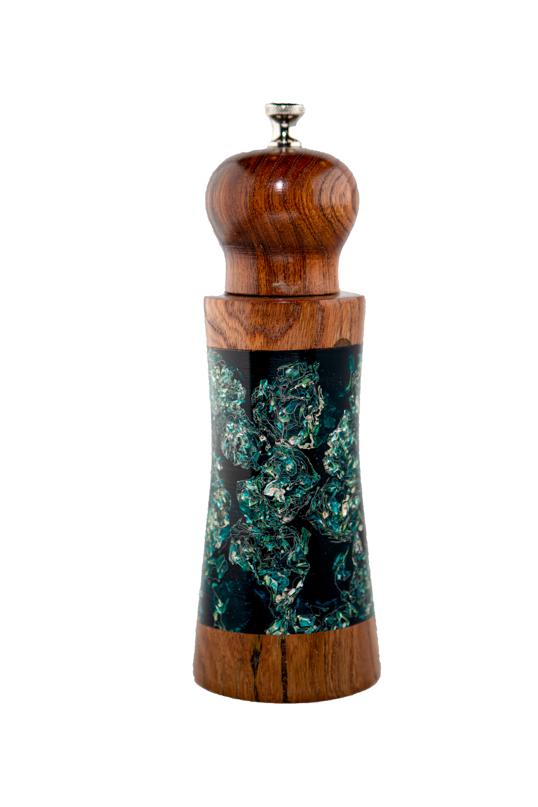 """7-¼"""" Silver and gold foil embedded in dyed casting resin, mesquite wood top and trim"""